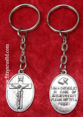 I am Catholic Notify a Priest Awareness Key Ring Crucifix Emergency Call Keyring